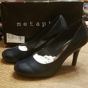 Beautiful Navy patent heels by Metaphor